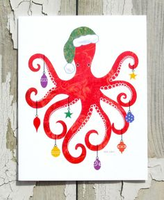 Christmas Card - Multi Tasking:  This bright red octopus, busy hanging Christmas ornaments , will bring holiday cheer to friends and family. on Etsy, $3.50
