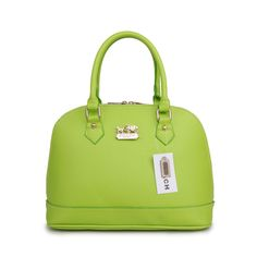 You Never Met The Famous Coach City In Logo Medium Green Satchels BHY Like That In Here! #NYFW #WhatsInYourBorough