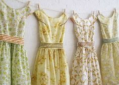 dresses using a similiar pattern and palette, but different fabric