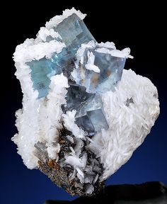 Breathtaking specimen of bluish-lavender Fluorite cubes with Barite on Sphalerite  Minerva1 Mine Illinois