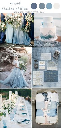 Romantic mixed shades of blue beach wedding inspiration for 2018 trends wedding flowers 10 Prettiest Blue Wedding Color Combos for 2018 & 2019 Beach Wedding Colors, Winter Wedding Colors, Fall Wedding, Dream Wedding, Wedding Beach, Trendy Wedding, Wedding Blue, Beach Color, Winter Colors