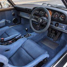 blue interior of a Singer Porsche | (via: Singer Vehicle Design)