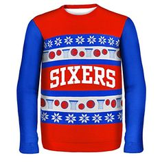 KLEW NBA Philadelphia 76ers One Too Many Ugly Sweater XLarge Red    Want to  know ee5237c84
