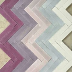 Cool color combo of Stix concrete tiles from our friends at Popham Design. Beach House Bathroom, Small Bathroom, Bathroom Ideas, Danish Modern, Midcentury Modern, Purple Day, Herringbone Tile, Encaustic Tile, Terrazzo Flooring