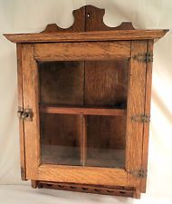 Antique Medicine Cabinet Primitive Oak Glass Door Wall Hanging Chest Old  Vintage