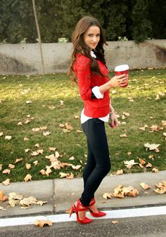 Kiss Me Darling: Hello December, featuring Raspberry Glow red sequin sweater, red heels