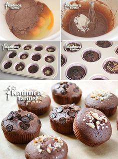 3 Malzemeli Muffin Tarifi Tiramisu Cupcakes, Muffins, Cap Cake, Turkish Sweets, Chocolate Cake, Lunch Box, Food And Drink, Cooking, Breakfast