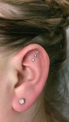 Triple Ear Cartilage Piercing by Miss Mandi at Crimson Heart Designs, Rice Lake, WI