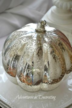 Adventures in Decorating: Fall Sitting Room,  mercury glass pumpkins
