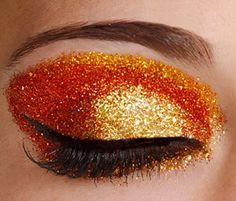 orange/gold glitter eye