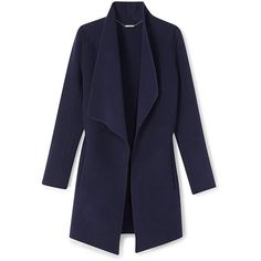 DEZ COAT IN NIGHT ($598) ❤ liked on Polyvore featuring outerwear, coats, navy coat, navy blue coat and blue coat