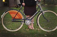 Raleigh Roadster with homemade crochet dressguards.