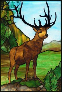 Stained glass deer.