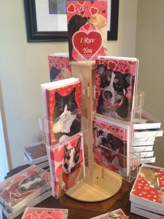 Some of our Wet Nose Greeting Valentine's Day cards at our WaggingTailPortraits.com studio in Woodbine, MD. 301-963-3320.