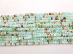 """5 Strands Wholesale lot Peruvian opal faceted rondelle gemstone beads 13"""" long…"""