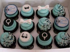 Tiffany blue cupcakes. :) Especially love the half beaded cupcakes!!