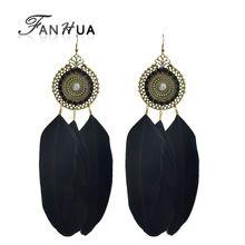 Ethnic Bohemian estilo antigo do ouro com longo preto brincos de penas de moda para as mulheres(China (Mainland))