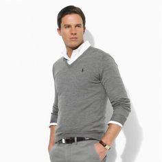Ralph Lauren Men\u0026#39;s V-Neck Mesh Sweater Polo Gray http://www.