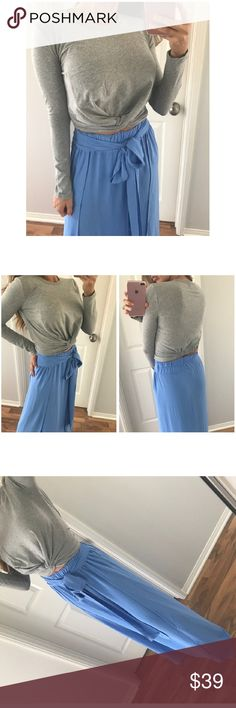 Gray Crop Long Tee Bought from one of my favorite poshers MrsAllieXO  Sz large has an elastic wasteband that is super flattering!  *Not Top Shop* Boutique Brand Topshop Tops