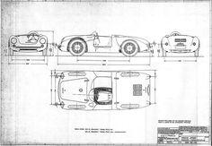 Sketchbook historic cars Pictures: Spyder Porsche 550 - Piano di forma originale