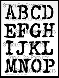 Click here to buy the Vintage Typewriter Alphabet Stencil letters a to p by Carolyn Dube  for StencilGirl Products. $14.00