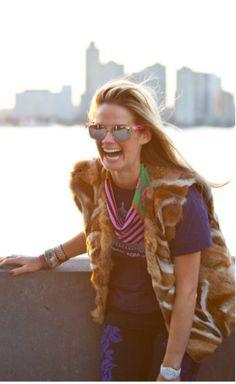 Designer, Mignonne Gavigan in her own Aztec Beaded Scarf Necklace www.mignonnegavigan.com Follow on insta @Mignonne Gavigan