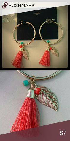 **BNWT**goldtone tassel earrings These earrings are HOT!!! Gold tone hoops adorned with bright pink/orange tassels, gold tone leaves, and teal & pink/orange beads.  SUPER CUTE FOR SUMMER!! Jewelry Earrings