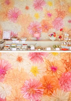 Peach and Pink Crepe Paper Flowers DIY