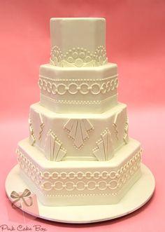 Traditional white cake featuring bold geometrics