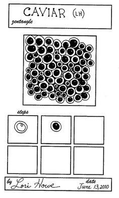 Caviar pattern by Laurie Howe Zentangle Drawings, Doodles Zentangles, Doodle Drawings, Doodle Art, Flower Drawings, Zen Doodle Patterns, Zentangle Patterns, Doodle Borders, Zantangle Art