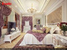 Gam màu tím tạo không gian nội thất phòng ngủ cổ điển thêm nhẹ nhàng, mộng mơ