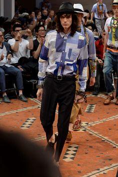 Patchwork chambray and ticking shirt by Junya Watanabe Spring 2016 Menswear