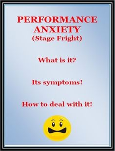 <PEM>  A 22 page PDF file focusing on Performance Anxiety or Stage Fright! Designed as an information/discussion resource for teachers of students who are involved in such activities as music, drama, dance, sport, debating, oral presentations.....   $