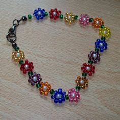 seed bead flower necklace by Jersica