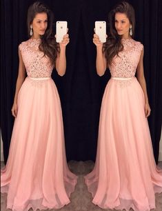 Buy here: https://www.occasiongirl.com/prom-dresses/elegant-bateau-sleeveless-sweep-train-pink-prom-dress-with-lace.html?OG201601192