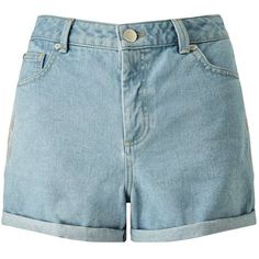 Miss Selfridge Rose Embroidered Denim Short (€7,62) ❤ liked on Polyvore featuring shorts, bottoms, short, pants, mid wash denim, embroidered shorts, jean shorts, short jean shorts, denim short shorts and short shorts