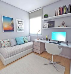white desk designs for minimalist home office 9 < Home Design Ideas Room Design, Dream Rooms, Bedroom Decor, Apartment Decor, Home, Home Office Design, Bedroom Design, Small Bedroom, Home Decor