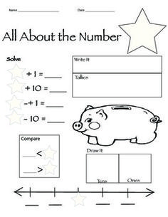 Have students practice everyday math skills by manipulating a chosen number.  Students will fill in the number of the day anywhere there is a star.  This worksheet works on: +/- 1, +/- 10, numbers before and after, tallies, money, base 10, number words, comparing numbers.
