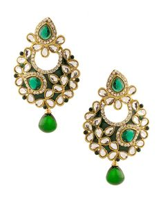 Gold Plated Drop Cluster Crescent Earrings With Meenakari Work