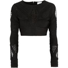 Hervé Léger Crochet-paneled cropped bandage top ($985) ❤ liked on Polyvore featuring tops, crop tops, shirts, sweaters, black, panel shirts, bandage top, shirt tops, crop shirt and hervé léger