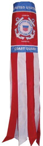 In the Breeze 40-Inch U.S. Coast Guard Windsock by In the Breeze. $19.00. Heavy duty snap swivel attached for easy hanging. Weather resistant polyester fabric. Applique, embroidered and printed detailed graphic. 8 color coordinated tails with sewn edges. Measures 6-Inch by 40-Inch. In the Breeze 40-Inch Coast Guard Windsocks are some of the best quality windsocks you can find on the market. The colors on them are bright and have great depth. The graphic has been sewn with a c...