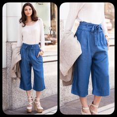 """Flowy Capri Culottes Tie Front Chambray Midi Pants How CHIC are these! I saw them and fell in love! These are so gorgeous and features a new fabric called TENCEL - Soft, fluid, natural. In the fabric world, Tencel is known for its """"drape"""". It flatters the human form. The look is luxurious and refined. This new fiber also represents a milestone in the development of environmentally sustainable textiles.  Tencel is a natural, man-made fiber. It is the trade name for the generic fiber Lyocell…"""
