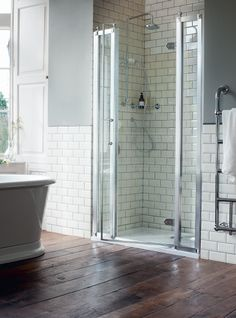 Create a showering solution for your own bespoke setting - Hinged Door Shower Enclosure from Burlington Bathrooms. http://www.burlingtonbathrooms.com/Products/Category?cat=13&name=Shower%20Enclosures