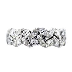 3.5 carat G/H/I and VS1&2 Platinum Marquise and Round Diamond Eternity Band Ring