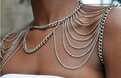 New 2014 Punk Double Shoulder Chains Choker Necklace Women Fashion Body Chain Jewelry  Body Harness-in Chain Necklaces from Jewelry on Aliex...