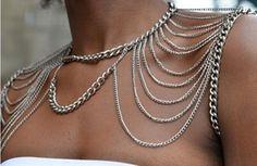 nuovo 2014 punk doppia spalla catene choker della collana donne body fashion jewelry catena imbracatura in descrizione di articolo  materiale metallo &nbspda Collane Chain su AliExpress.com | Gruppo Alibaba