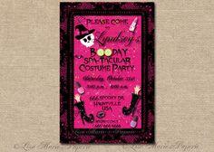 halloween girls birthday invitation handmade por LisaMariesPaperie