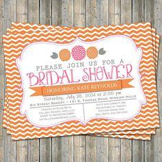 Orange Chevron Bridal Shower invitation with flowers orange