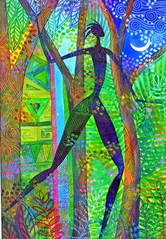 """Jennifer Baird """"Night Quest"""" - would love to mimic this style in a wall art quilt"""