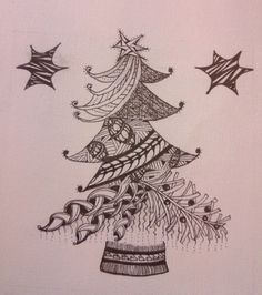 Zentangle Christmas tree - I am printing my own Christmas cards this year with this on them :-)